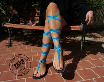 Lace Up Turquoise Gladiator Sandals