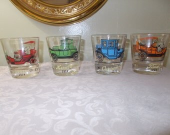 Vintage Four Piece Small Old Car Glasses (1061)