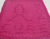 Knit Awareness Dishcloth, Pink Washcloth Awareness, Breast Cancer Awareness, Pink Cotton Hope