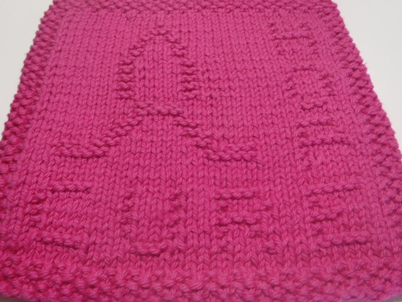 Breast Cancer Dishcloth Knitting Pattern : Items similar to Knit Awareness Dishcloth, Pink Washcloth Awareness, Breast C...