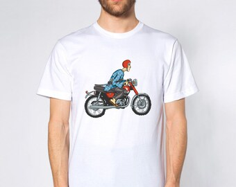 KillerBeeMoto: Hand Drawn Japanese Man On Motorcycle (White) Short & Long Sleeve Motorcycle Shirts