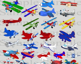 Airplane Clipart INSTANT DOWNLOAD for Digital Scrapbooking, Crafting, Invitations, Web Design and More - Cute Red and Blue Airplane