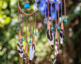 Turquoise Pheasant Dreamcatcher Earrings