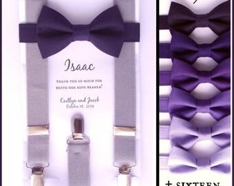 Purple Bow Tie and Suspenders: Grey Suspenders, Toddler Suspenders, Baby, Boys, Kids, Indigo, Grape, Adult, Mens, Cadbury, Ring Bearer Gift,