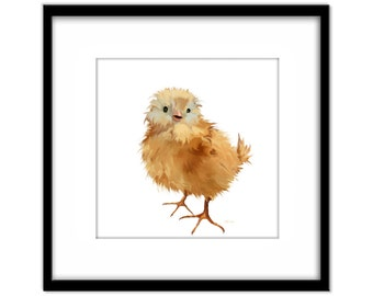 Printable Nursery Art, Cute Chick Instant Download, Print Your Own Art and Cards, Kids Wall Art