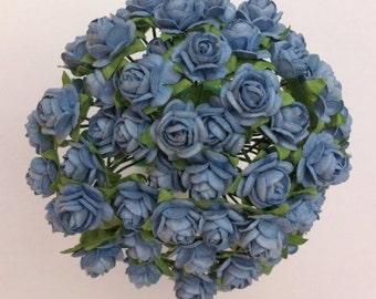 50 Baby Blue Mulberry Paper Roses 10mm (1 cm)