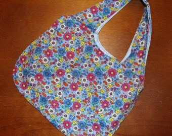 Tote Bag - Floral Print with Light Blue Lining