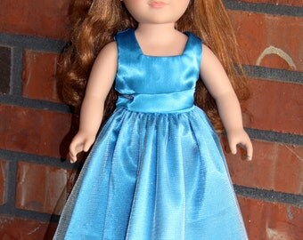 "Pretty Turqoise Doll Gown for 18"" doll like American Girl"