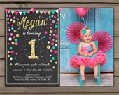 Pink Turquoise gold Birthday invitation Gold First Birthday Invite Pink mint birthday invitation Confetti bunting Digital Printable ANY AGE
