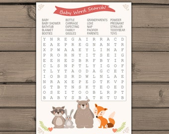 Baby shower game word search Baby word search Woodland baby shower Forest animals Gender neutral  Instant download  Digital PRINTABLE bsw