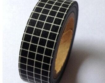 Black Grid Washi Tape -- Japanese Washi Tape -Deco tape-- 15mm x10M