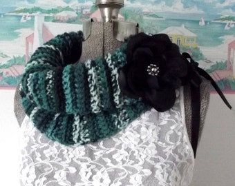 Handmade Crochet Cowl Teal, White Black Collar Scarflet Removable Flower Brooch Goth Ribbon