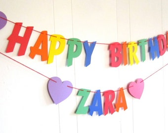 Rainbow Birthday, Happy Birthday Banner, With First Name, Primary Colors, Rainbow, Bright, Birthday Party Banner, Flair Font, Hearts at Ends