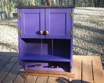 Rustic Purple Wall Cabinet-Solid Wood Rustic Cabinet