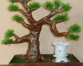 Artificial Bonsai Tree w/ Garden Pagoda