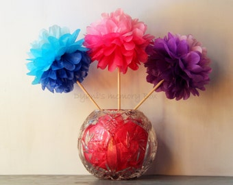 Ombre Tissue Paper Pom Poms with Wood Dowel / Ombre  Wedding Poms / Ombre Birthday Party Decor