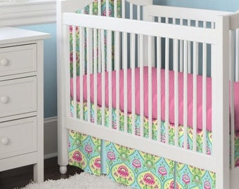 Girl Baby Crib Bedding:Aqua and Bright Pink Floral 2-Piece Crib Bedding Set by Carousel Designs