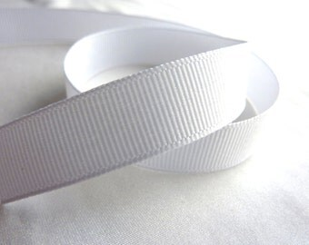 3/8 in. x 1 yard C-29 White Grosgrain Ribbon