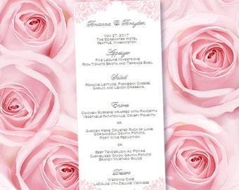 "Printable Wedding Menu Template  ""Faith"" Pink Editable Word.doc Instant Download ALL COLORS Available DIY You Print"