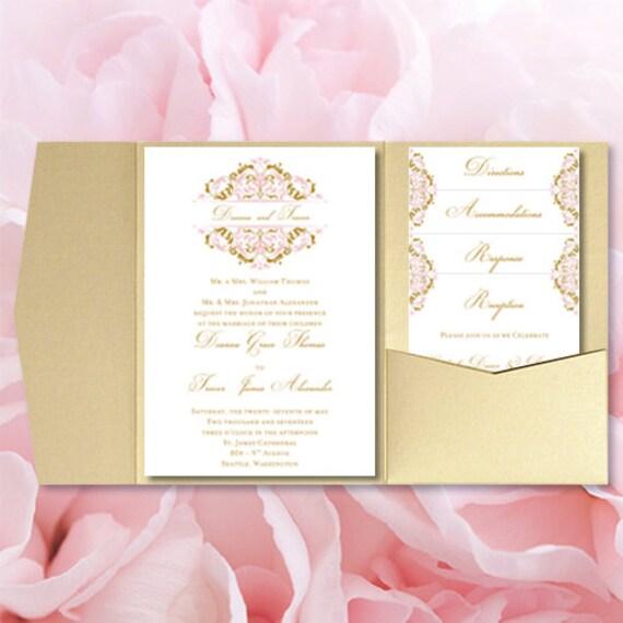 Pocket fold wedding invitations grace blush pink for Printable folded wedding invitations