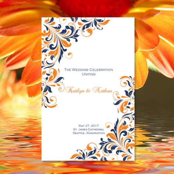 wedding program template kaitlyn navy blue orange printable order of service word