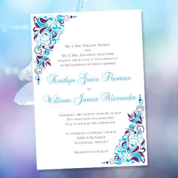 printable wedding invitations gianna malibu blue