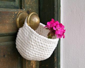 Crochet Hanging Basket, Crochet Basket, White hanging basket, White, Housewares, Storage Solutions
