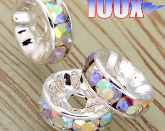 Best Quality, Silver Plated 100 pcs of 10mm White AB Crystal Roundel Rhinestone Spacer Beads Earring Necklace Jewelry Findings RP988