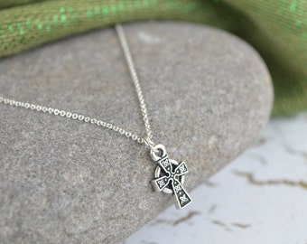 Irish Celtic Cross Silver Necklace