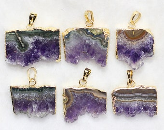Amethyst Druzy Slice Pendant -- With Electroplated Gold Edge Charms Wholesale Supplies CQA-041