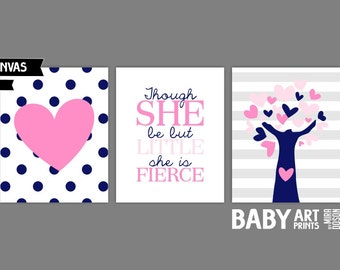 Navy and Pink Nursery canvas art, Set of 3 8x10. Though she is but little she is fierce, Heart, Tree ( S8105001 )