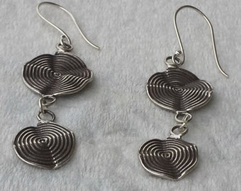 Handcrafted Silver  dangle earrings with two circles spiral motif