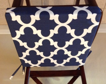 Charmant Chair Seat Cushions, Replacement Chair Cushion Cover, Replacement Custom Chair  Cushions Navy Blue Geometric