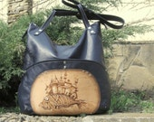 Leather bag, hand painted bag,  blue leather handbag, hobo bag, shoulder bag, bag with large pockets.