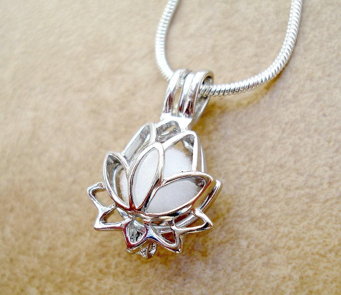 lotus flower aromatherapy necklace silver plated lotus