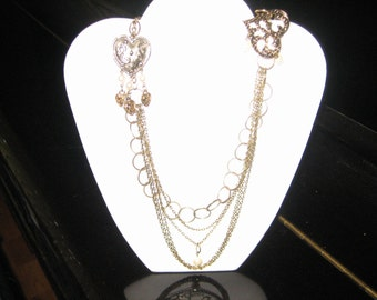 Filigree Hearts Goldtone Statement Necklace - MY OWN ESTATE'S Hearts and Pearls