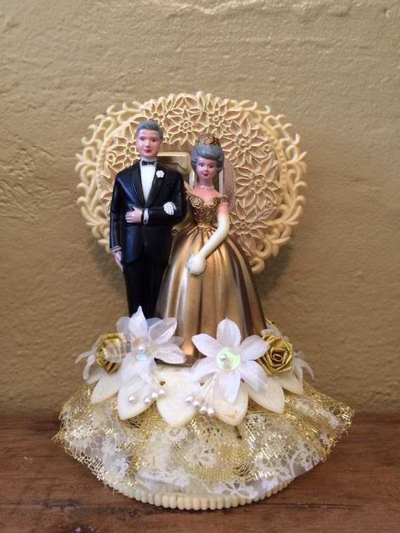 Vintage 50Th Wedding Anniversary Cake Topper Man And Woman-2537