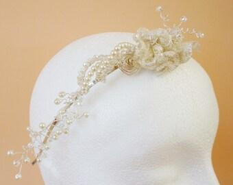 Silver Roses Headband