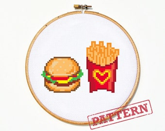 Burger And Fries Cross Stitch Pattern
