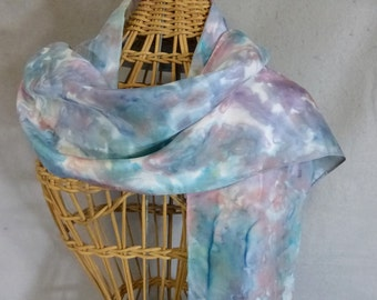 """Hand Painted Silk Scarf """"Painted Desert--Sage Green, Blue, and Rose"""""""