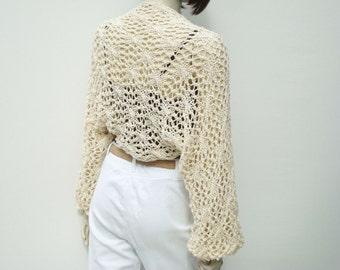 Shrug Ecru Shawl Bridal Hand Knitted Bolero Scarf Handmade
