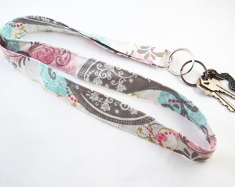 Fabric Lanyard - Cream, grey and pink whimsical pattern