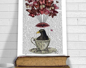 Blackbird In teacup - blackbird print blackbird designs bird art bird decor hot air balloon funny animal woodland décor Nursery art poster