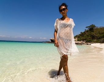 White Stretch Lace Beach Cover Up
