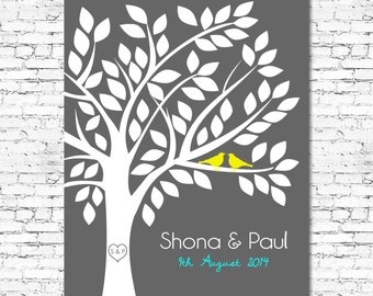 Printable - Wedding Guest Book Tree Alternative - Up to 80 signatures - Customise all Colors and Fonts - Any Size - Wedding Guestbook Tree