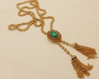 Vintage Gold Tone Avon Green Pendant Tassel Necklace