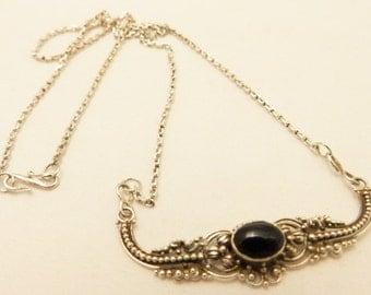 Sterling Silver Black Onyx Gemstone Necklace