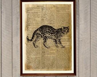 Cabin decor Ocelot print Animal art poster WA406