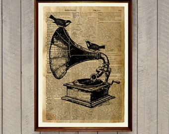 Antique illustration Gramophone poster Vintage decor WA641