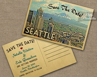 Seattle Save The Date Postcard - Vintage Travel Seattle Washington Save The Date Cards - Printable Seattle Skyline Wedding Save The Date VTW